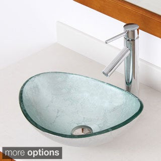 Elite Unique Oval Artistic Silver Tempered Glass Bathroom Vessel Sink With Faucet Combo, Model 1412
