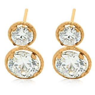 Gioelli 14k Gold Double Martini Cubic Zirconia With Rope Frame Earrings