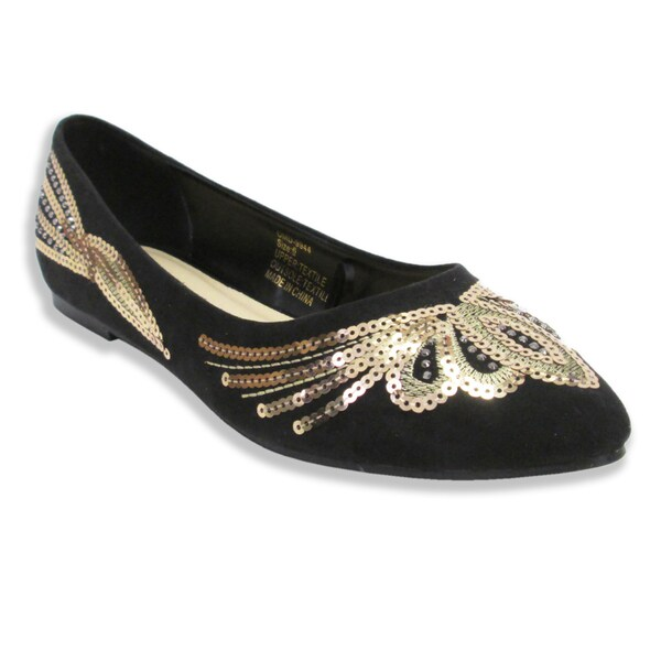 c0a89fe9b9a64 Olivia Miller Womens Eva Sequined Pointy Toe Ballet Flats on PopScreen