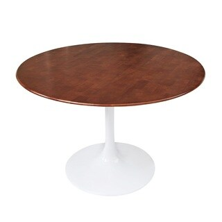 Flower 36-inch White/ Walnut Table