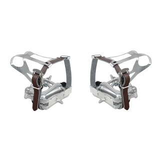 Ventura Steel Bike Toe Clips with Brown Leather Straps
