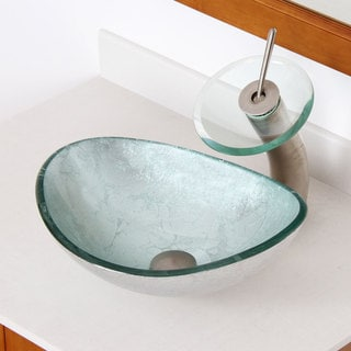 Elite 1412+F22TBN Unique Oval Artistic Silver Tempered Glass Bathroom Vessel Sink and Waterfall Faucet Combo