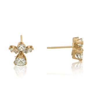 Gioelli 14k Gold Cubic Zirconia Angel Stud Earrings