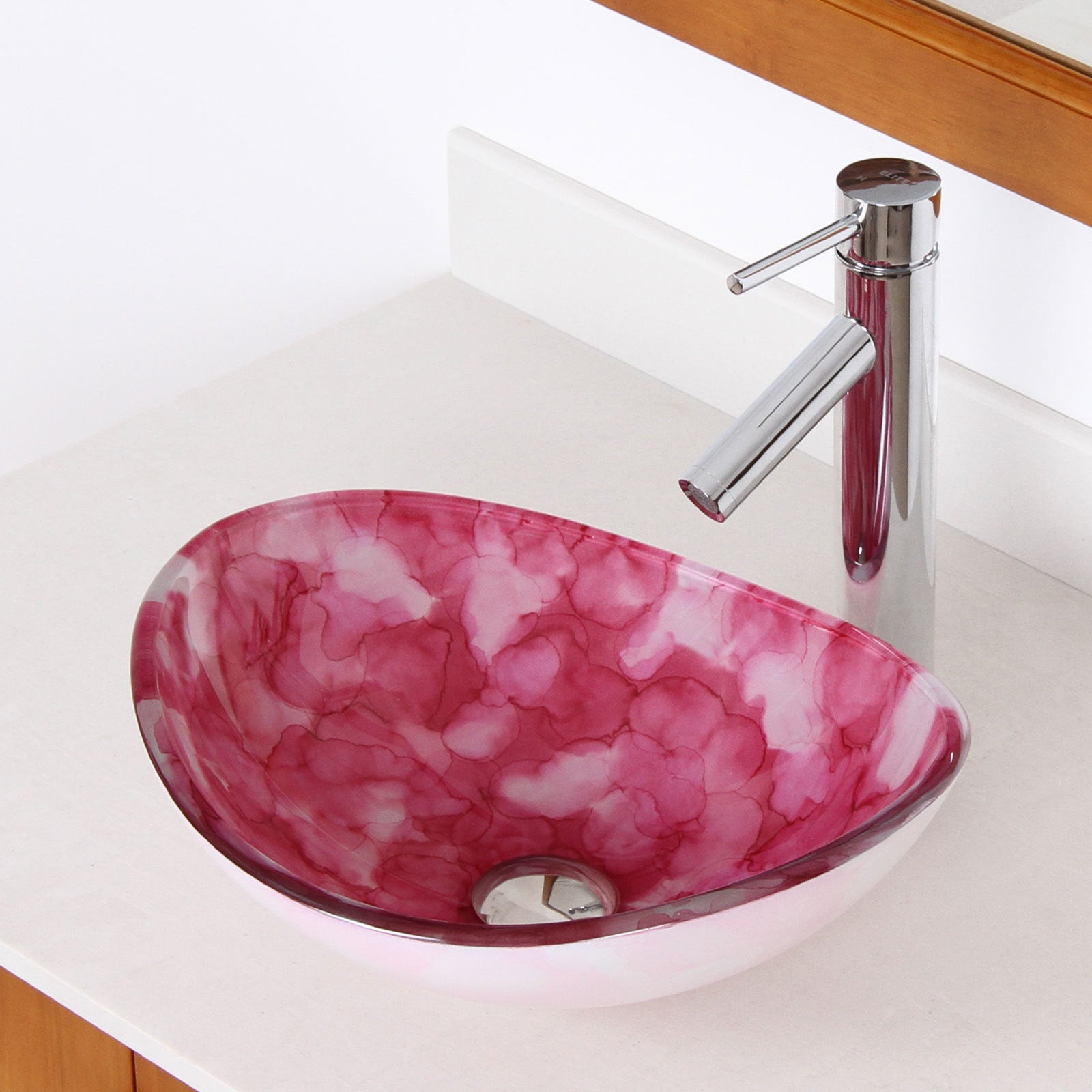 Elite Unique Oval Cloud Style Tempered Glass Bathroom Vessel Sink