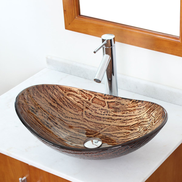 ... Oval Bathroom Tempered Boat Shape Glass Vessel Sink with Faucet Combo