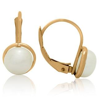 Gioelli 14k Gold 6mm Pearl Channel Wrap Leverback Earrings