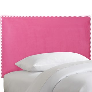 Skyline Furniture Nail Button Border Headboard in Micro-Suede Hot Pink