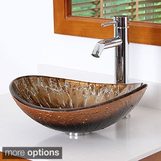 Elite Unique Oval Artistic Bronze Tempered Glass Bathroom Vessel Sink With Faucet Combo