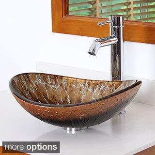 Elite Unique Oval Artistic Bronze Tempered Glass Bathroom Vessel Sink With Faucet Combo|https://ak1.ostkcdn.com/images/products/9514085/P16692730.jpg?impolicy=medium