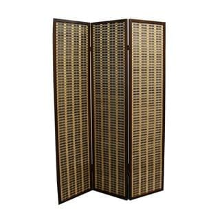 70.25-inch Bamboo 3-Panel Room Divider - Dark Walnut