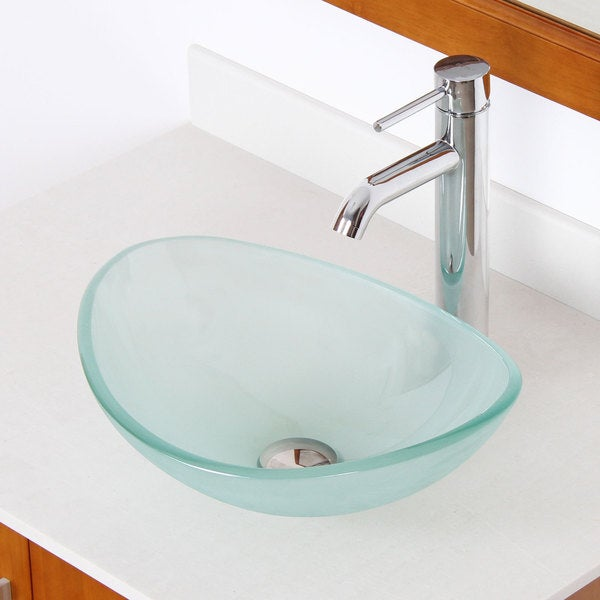 Elite Unique Oval Frosted Tempered Glass Bathroom Vessel Sink With Faucet Combo Free Shipping