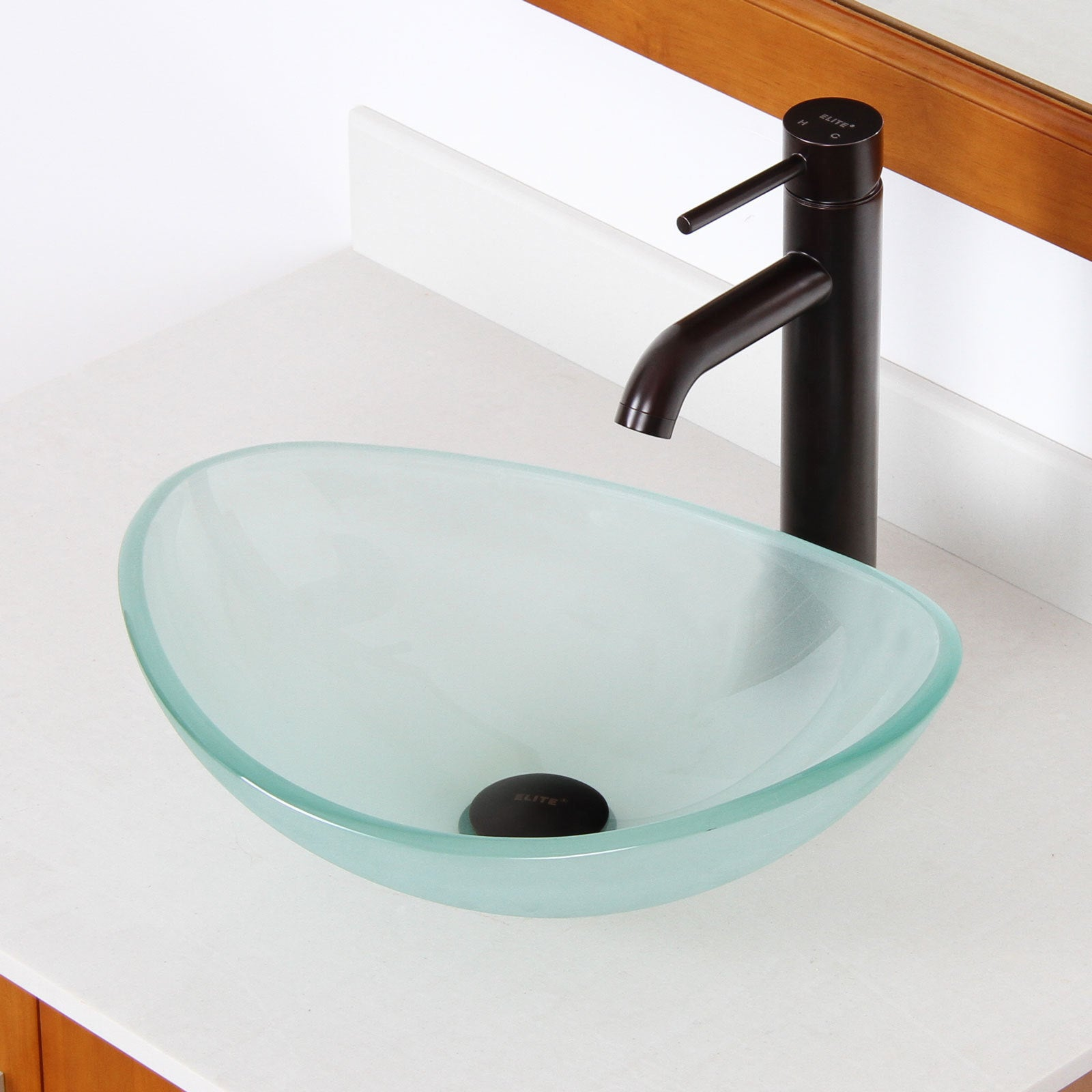 Elite Systems Unique Oval Frosted Tempered Glass Bathroom...