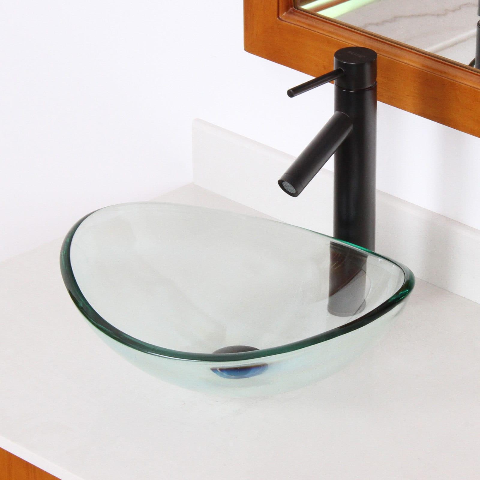 Elite Systems Unique Oval Transparent Tempered Glass Bath...