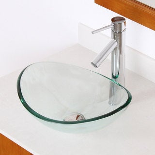 Elite Unique Oval Transparent Tempered Glass Bathroom Vessel Sink With Faucet Combo