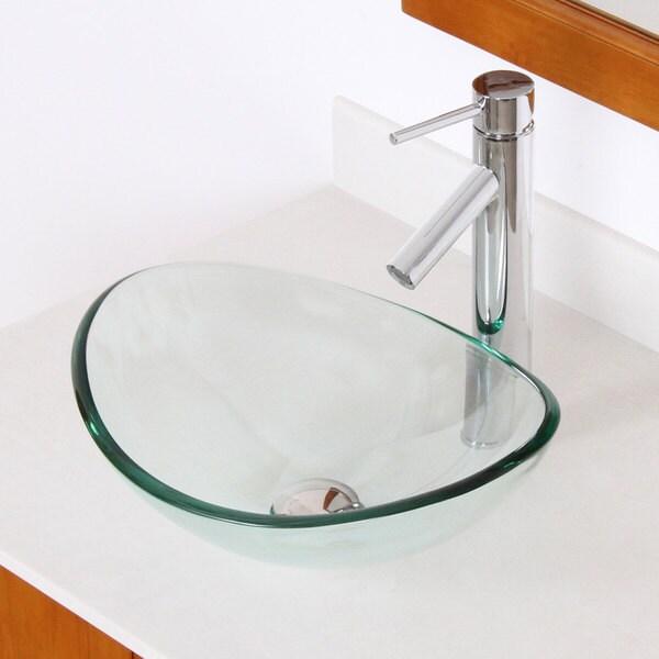 Elite Unique Oval Transparent Tempered Glass Bathroom Vessel Sink ...