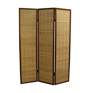 Walnut Bamboo 70.25-inch 3-panel Room Divider