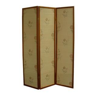 70.25H Floral Bamboo 3 Panel Room Divider - Honey