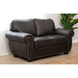 abbyson richfield top grain leather loveseat