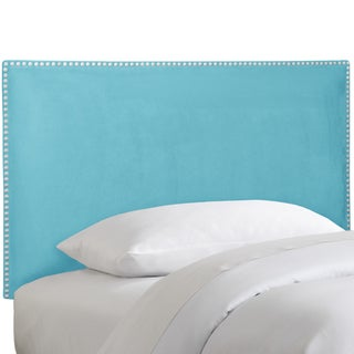 Skyline Furniture Nail Button Border Headboard in Micro-Suede Azure