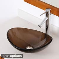 Elite 1417+2659 Unique Oval Transparent Brown Tempered Glass Bathroom Vessel Sink With Faucet Combo