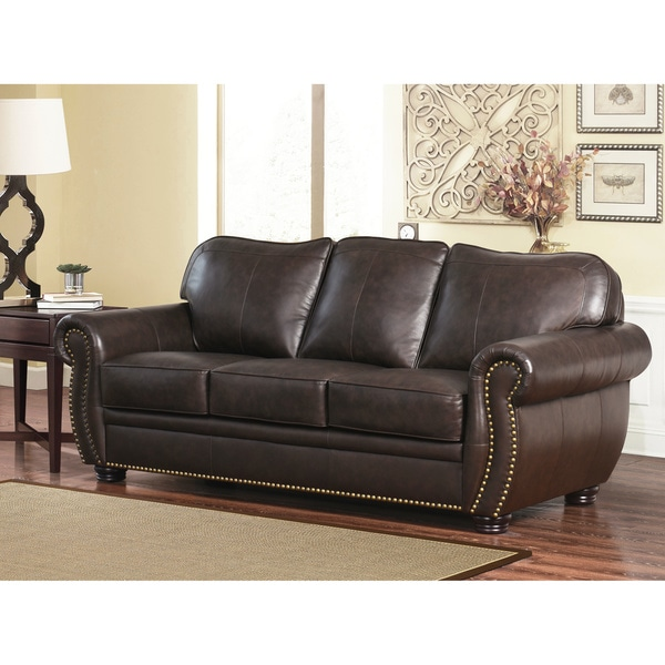 Abbyson Richfield Top Grain Leather Sofa - Free Shipping ...