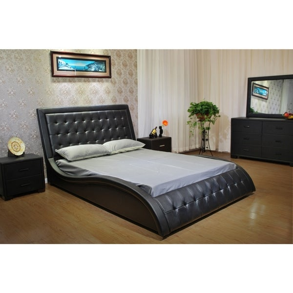 Greatime Chocolate Wave Like Shape Upholstered Bed Californiaifornia King