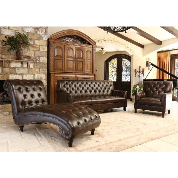 Abbyson Alessio Brown Leather Living Room Sofa Set Free Shipping