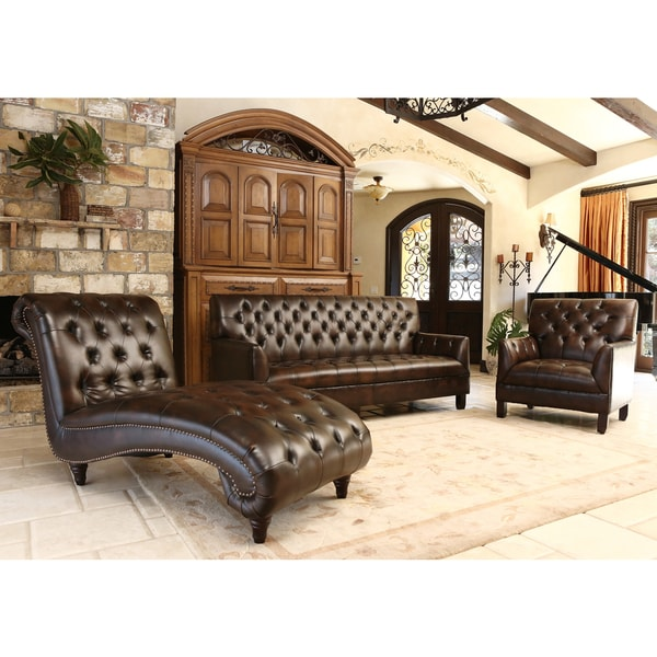 Abbyson alessio brown leather living room sofa set free for Chaise lounge couch set