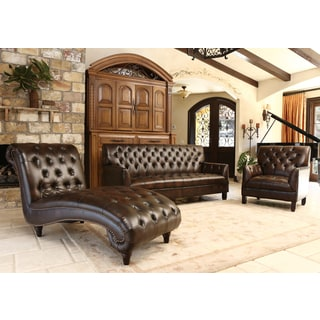 Abbyson Alessio Brown Leather Living Room Sofa Set