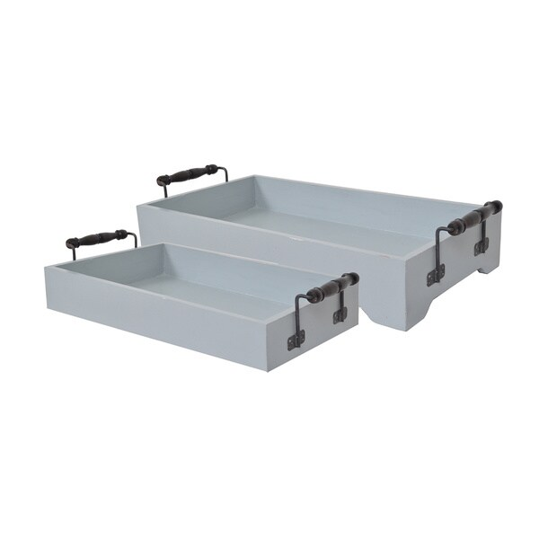 Shop Decorative Grey Wooden Antique Tray With Handles