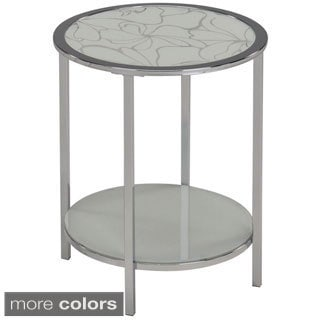 Olivia Patterned Glass Top/ Chrome Table