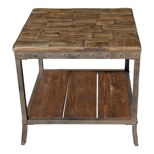 Trenton Distressed Pine/ Metal End Table   Free Shipping Today    Overstock.com   16692960