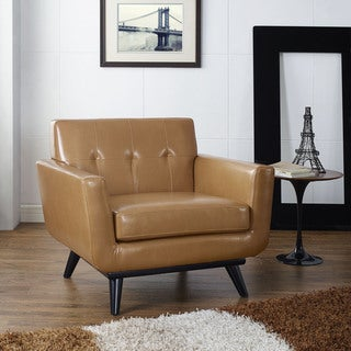 Engage Mid Century Tan Leather Armchair