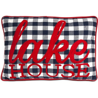 Lake House Gungham Embroidered Throw Pillow