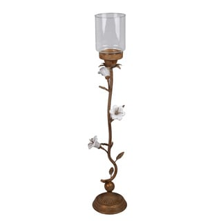 Medium Metal Candle Holder Flower Design