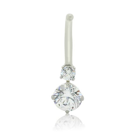 Gioelli 10k White Gold round-cut cubic zirconia Belly Ring