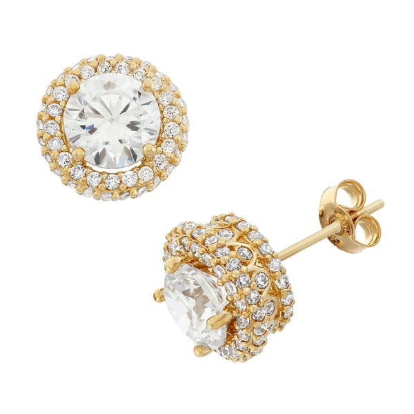 283b395ca Gioelli 10k Gold Round-cut Cubic Zirconia Infinite Stone Pave Stud Earrings