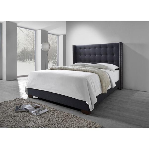DG Casa Grey Fabric Savoy Wingback Bed