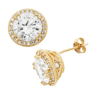 Gioelli 10k Gold Round-cut Cubic Zirconia Large Designer Stud Earrings
