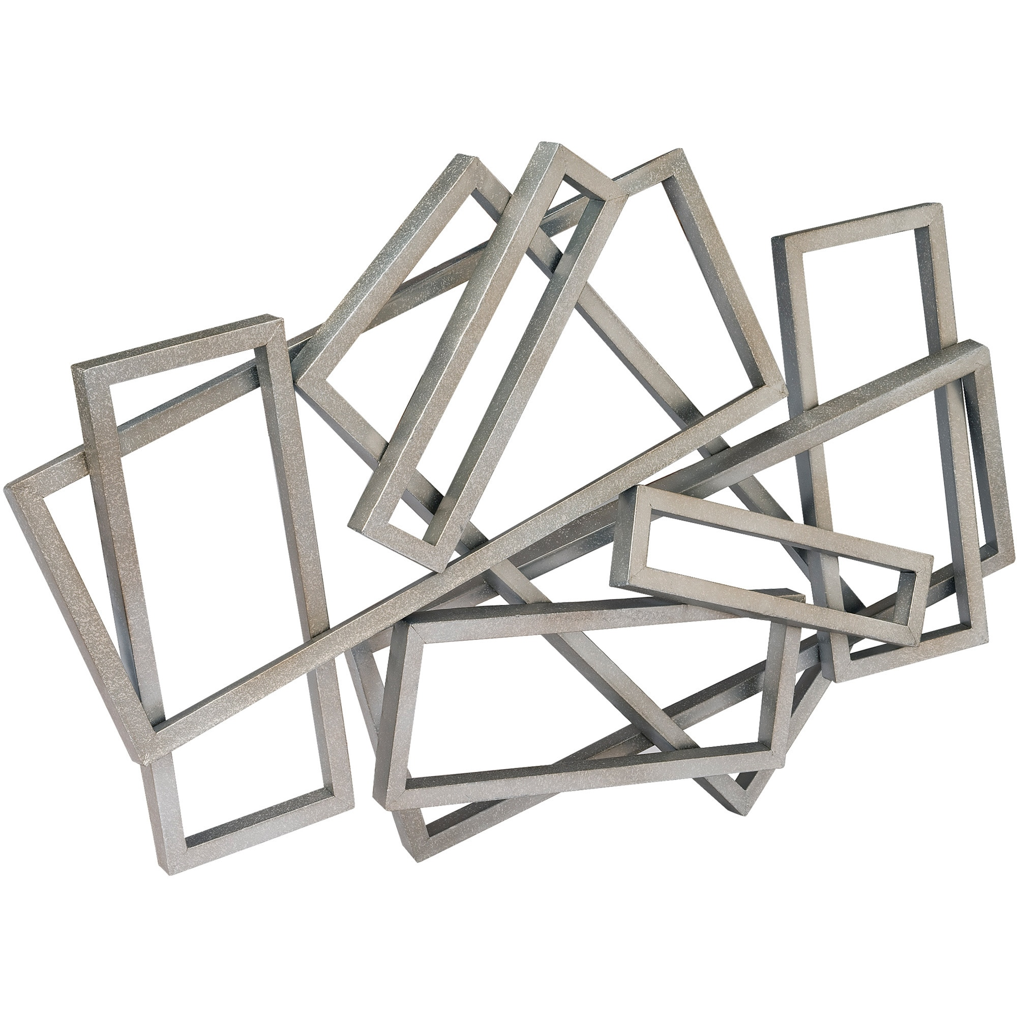 Aurelle Home Abstract Silver Rectangles Wall Decor