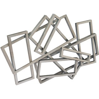 Aurelle Home Abstract Silver Rectangles Wall Decor - Thumbnail 0