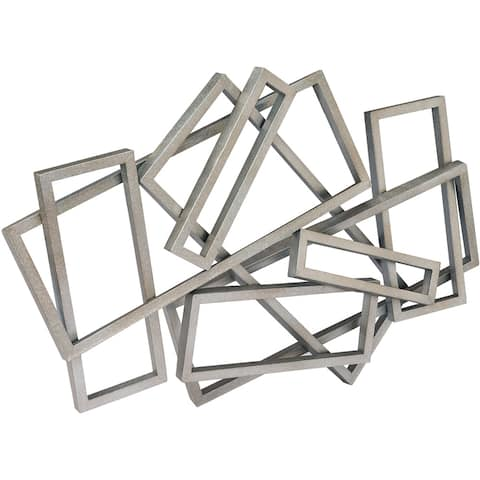 Strick & Bolton Abstract Silver Rectangles Wall Decor