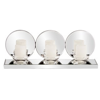 Triple Clear Round Mirrored Candleholder