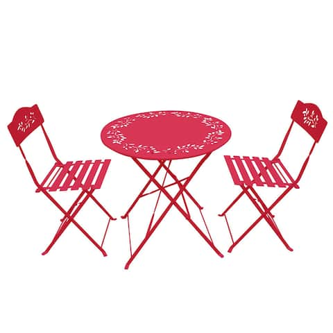 Alpine Corporation 3-Piece Red Bistro Set