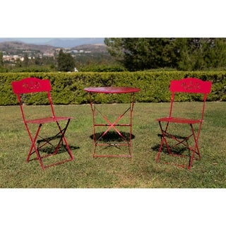 Red Metal 3-piece Bistro Set