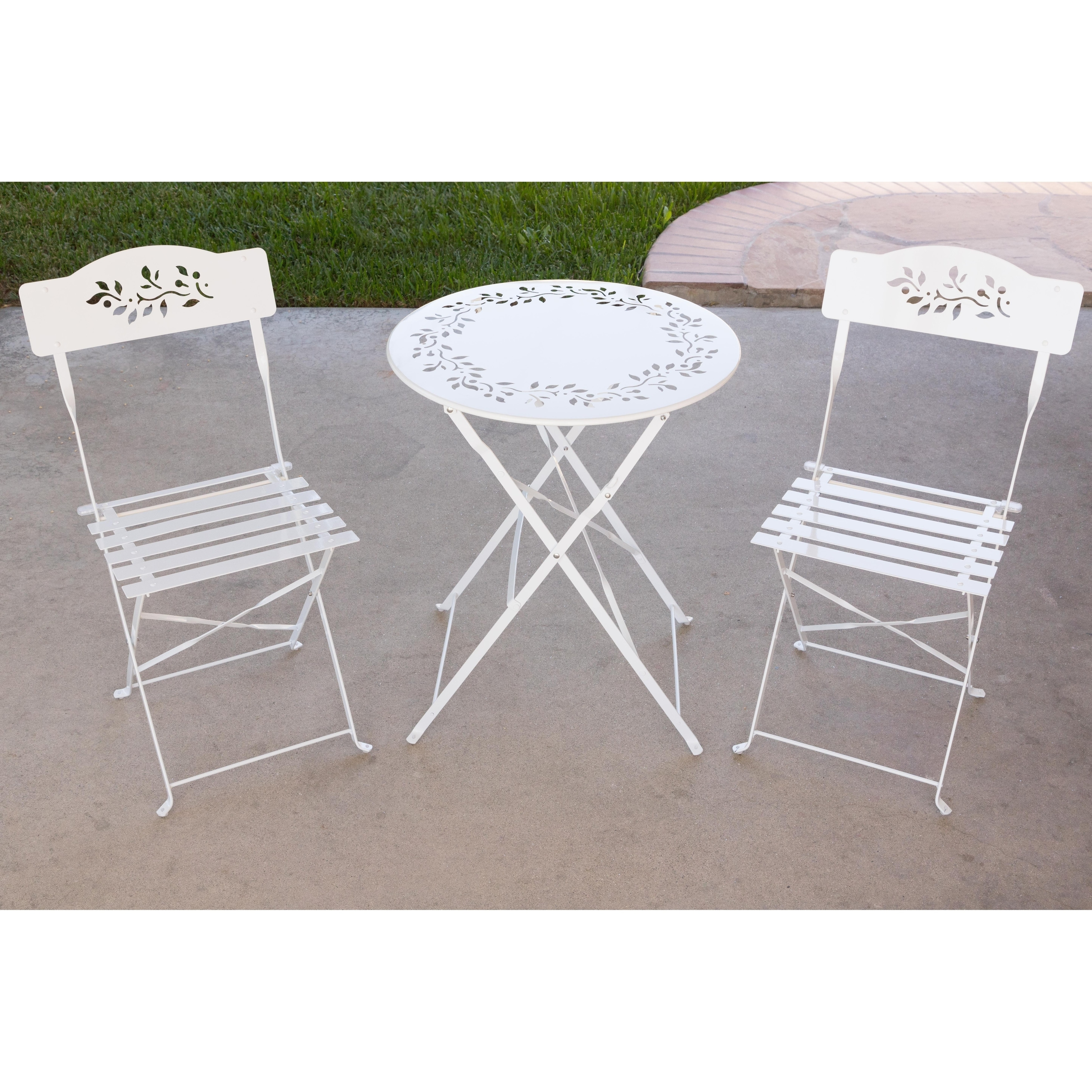 Alpine Metal Bistro Set with Two Chairs - White (See desc...