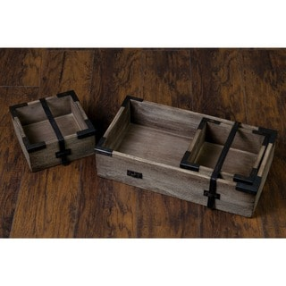 Decorative Vintage Rustic Wooden Nesting Tray Set