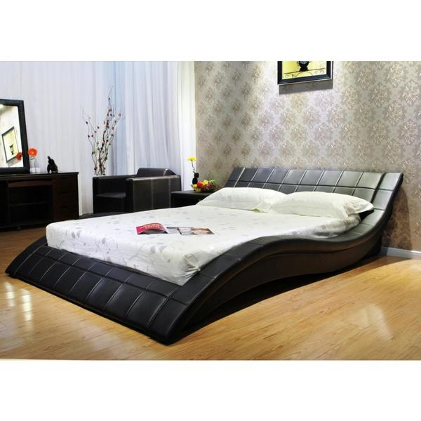 Greatime Wave Like Upholstered Bed Black Queen
