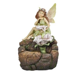 Fairy with White Flowers LED Light Floor Fountain
