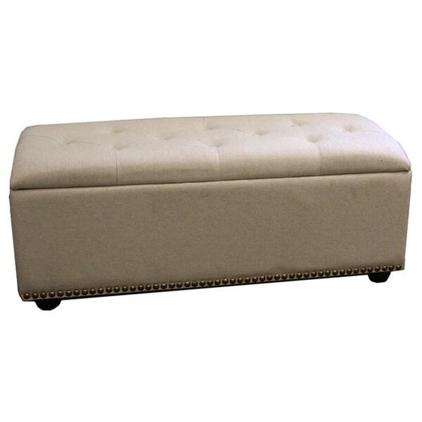 Beige 18-inch 3-seat Storage Bench